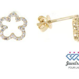 Floral Style Diamond Stud Earrings 14K Yellow Gold